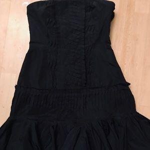 BCBG MAX AZARIA navy, strapless, ruffled dress